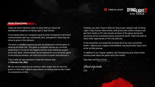 《消逝的光芒2》跳票原因公开 追踪问题修复与改进现有机制