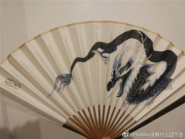 玩家绘制神圣玛瑙云端翔龙中国风折扇