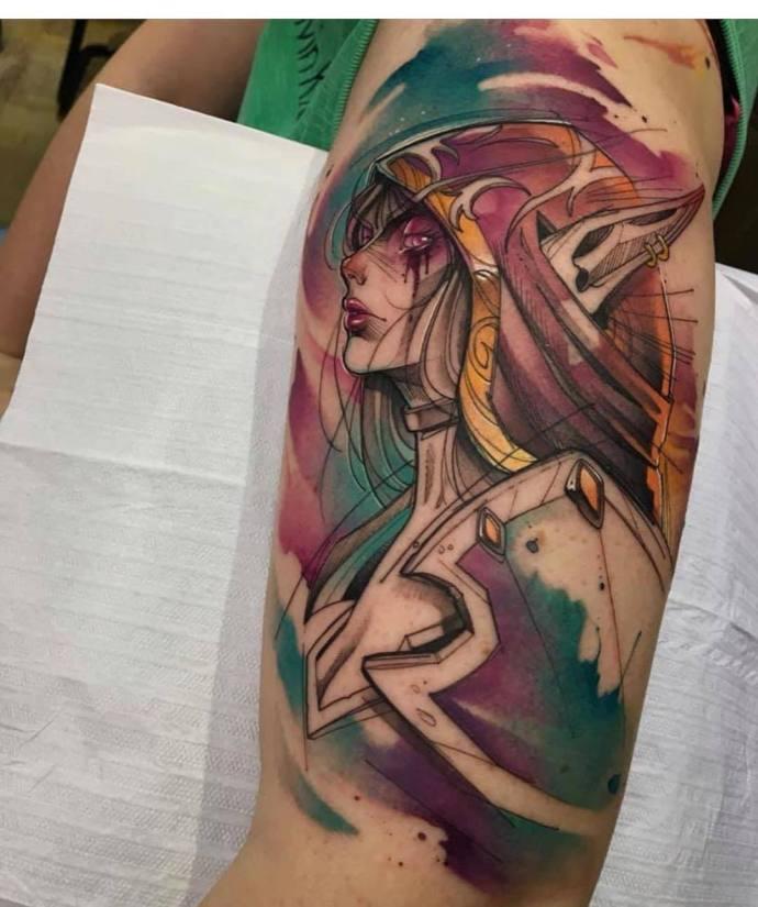 妹子纹上身 魔兽世界希尔瓦娜斯纹身cool哦图片