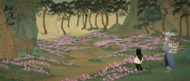 图3:游戏截图:唯美花丛,画境暗示着千丝万缕的情缘.jpg