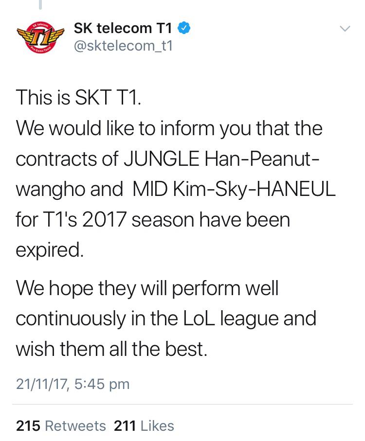 SKT官宣:打野选手Peanut 中单Sky离队