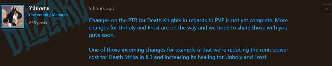 8.1死亡骑士的PVP改动进行中 灵界打击将加强