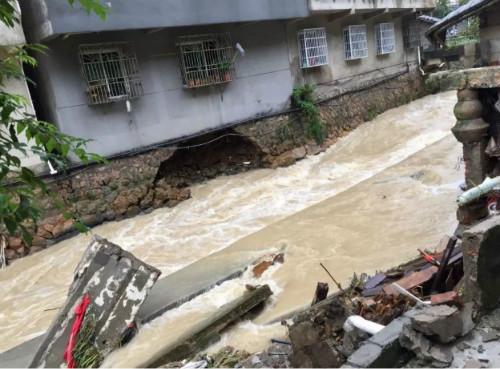 持续暴雨形成的损坏,图源:丽水百事通