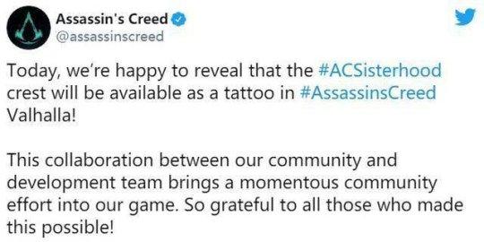 《【天游注册首页】《刺客信条:英灵殿》加入新纹身 致敬女性游戏角色和开发人员》