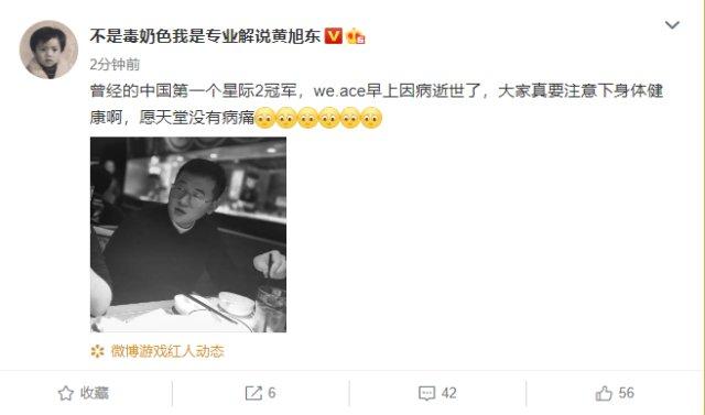 中国首个星际2冠军选手Ace因病早逝 曾以一己之力击败韩美夺冠