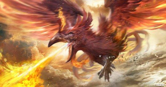 上古神话中的凤凰外形虽然像普通的鸡,但它身披五彩羽毛,是寓意祥和