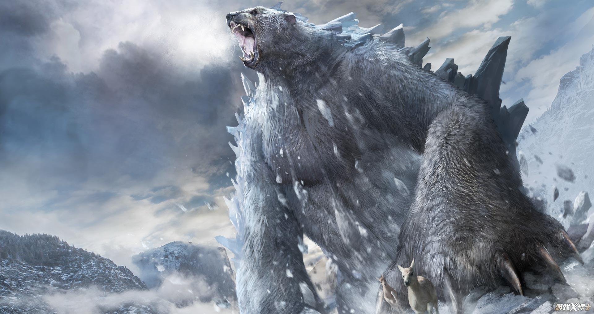 的如_它外型似熊,却拥有着如巍峨高山般的巨大身躯,雪白的皮毛上覆盖着终年