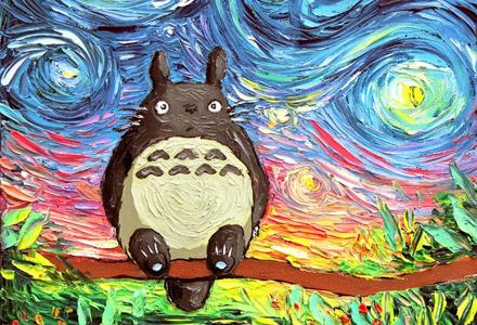 龙猫、史奴比、小熊维尼 都跟梵高的星空相遇了!