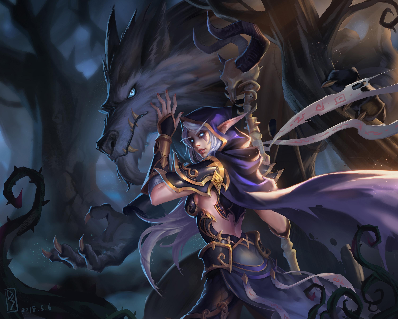 画作 女巫和她的狼人大宝贝在小树林约会