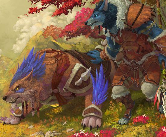 画作:艾泽拉斯的秋天 山顶远眺的狼人猎人