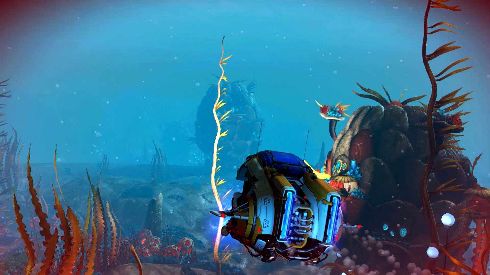 【17173新闻报道,转载请注明出处】 《无人深空》(No Mans Sky)最新免费更新The Abyss(深渊)现已对PC Steam、PlayStation 4 与 Xbox One玩家开放下载。The Abyss是英国独立开发商Hello Games继今年初 No Mans Sky NEXT更新后的第一个重要版本更新,它为玩家带来了比以往多出5倍的水中环境内容,其中包含新的潜水载具与优化水下视觉效果等。 水下任务与剧情:新的故事 深邃梦境(The Dreams of the D