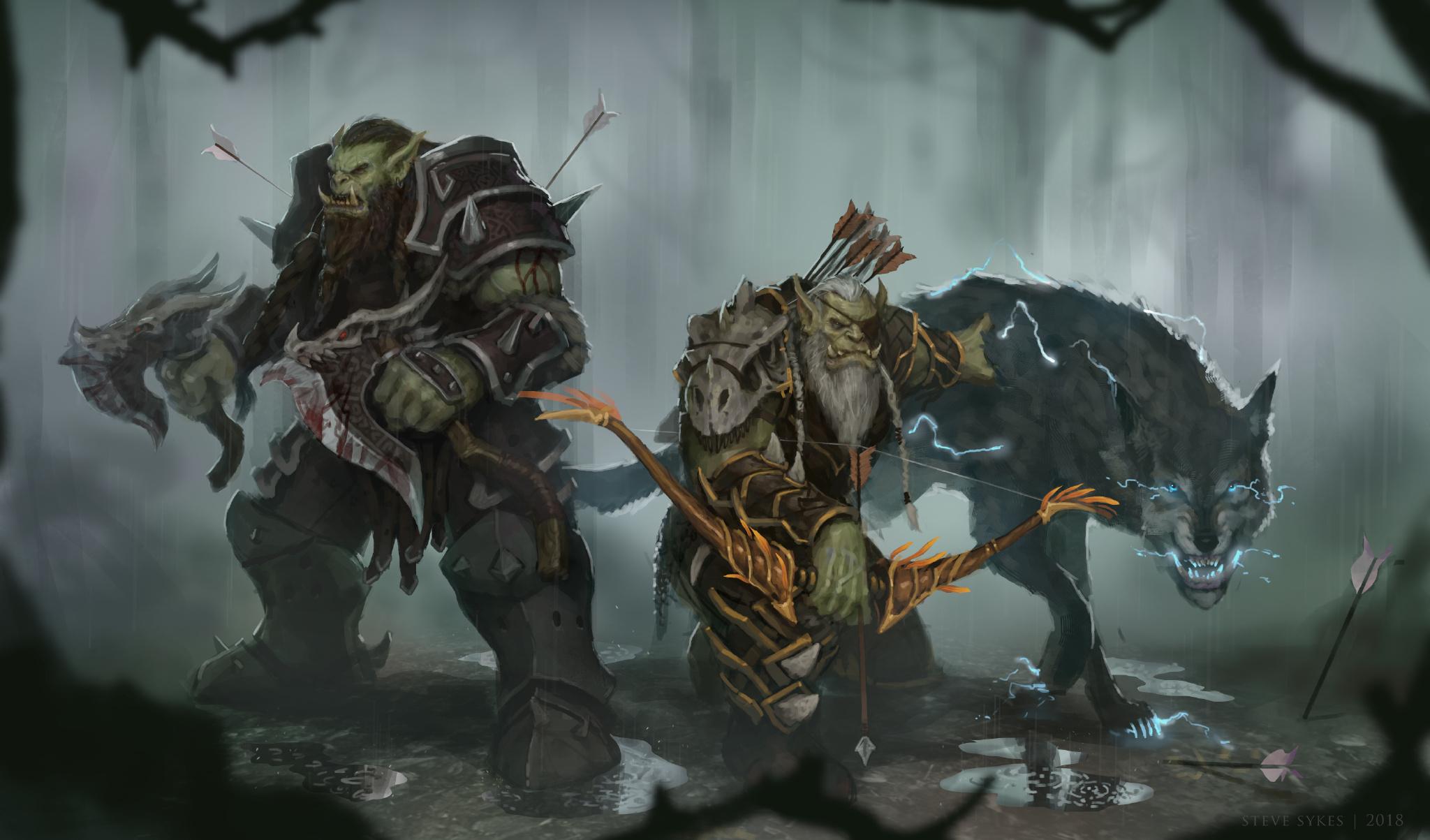 魔兽世界角色插画 丛林兽人狂暴战和兽王猎一览