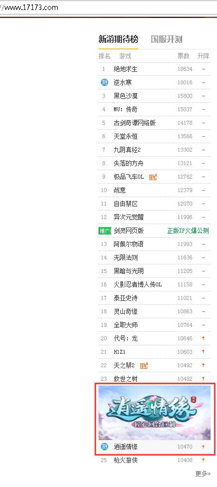 网络游戏--荣登新游期待榜首页 《逍遥情缘》玩家热度持续增长
