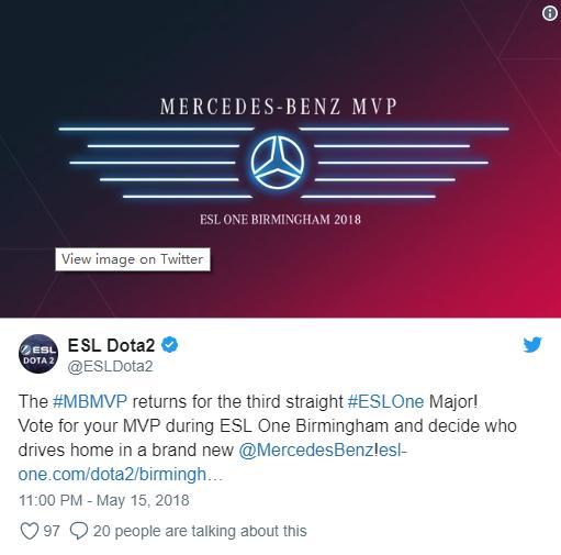 Dota2:ESL ONE伯明翰宣布赛事MVP奖励奔驰 VP战队:leileleile!