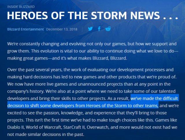 宣判死刑?暴雪宣布将削减《风暴英雄》开发团队并停办2019全球锦标赛