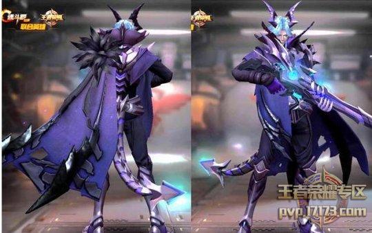 下图为特工魅影在王者荣耀中的展示效果:(蓝色短发,恶魔犄角和机械