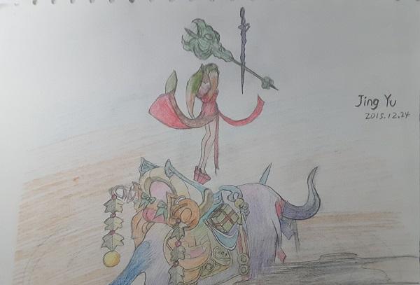 世界 玩家原创素描蜡笔诛仙画